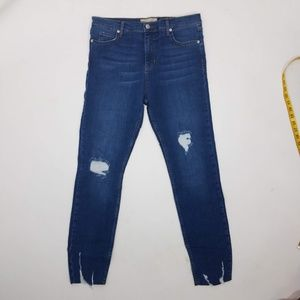 Free People Destroyed Jeans Sz 31 Blue F9